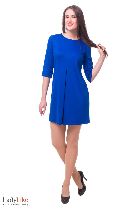 Купить платье синее со встречной складкой Деловая женская одежда