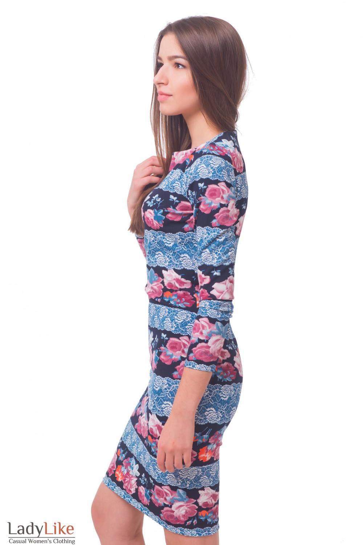 Купить платье трикотажное в голубое кружево Деловая женская одежда