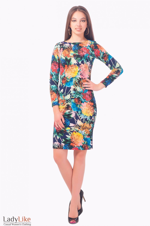 Купить платье трикотажное в крупные цветы Деловая женская одежда