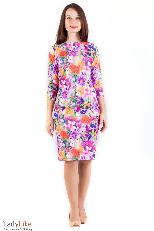 Фото Платье в крупные цветы Деловая женская одежда