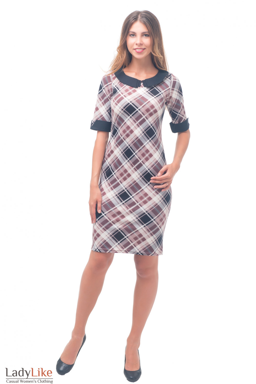 Купить трикотажное платье в клетку с черным воротником Деловая женская одежда