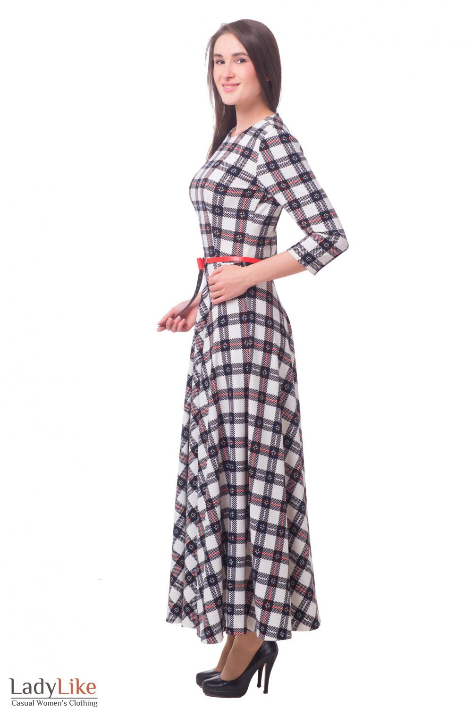 Купить платье в клетку трикотажное длинное Деловая женская одежда