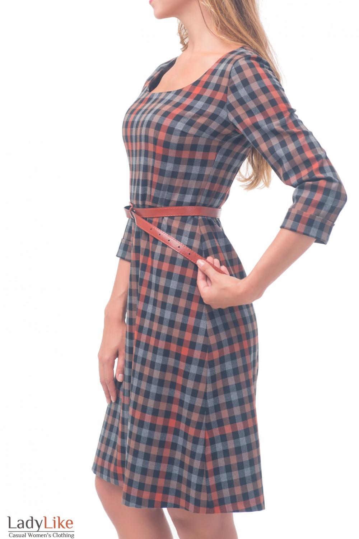 Купить платье в клетку тёплое с юбкой трапецией Деловая женская одежда