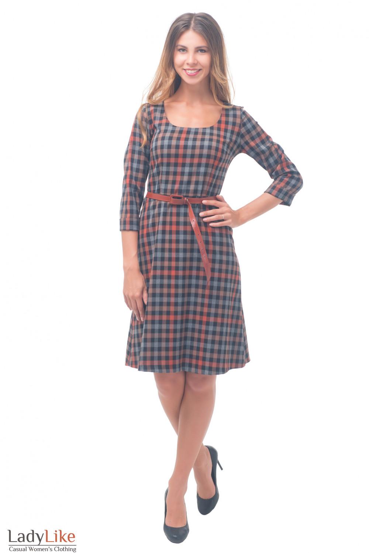 Купить платье тёплое с юбкой трапецией Деловая женская одежда