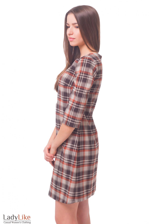 Купить платье в коричневую клетку со складкой Деловая женская одежда