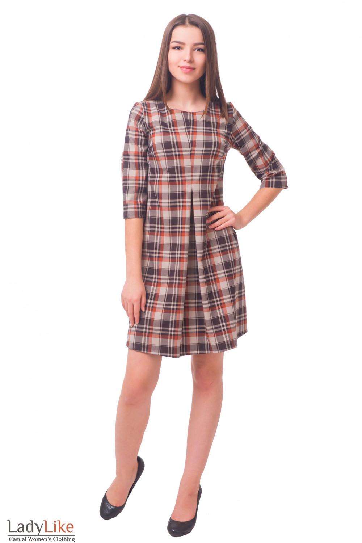 Купить платье в клетку со складкой Деловая женская одежда
