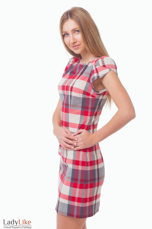 Купить платье в клетку с коротким рукавом Деловая женская одежда