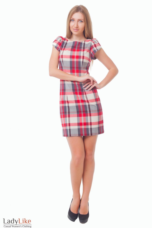 Купить платье в красно-серую клетку Деловая женская одежда