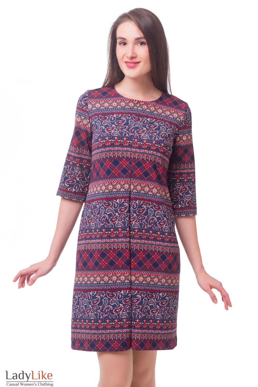 Платье в красный узор со встречной складкой Деловая женская одежда