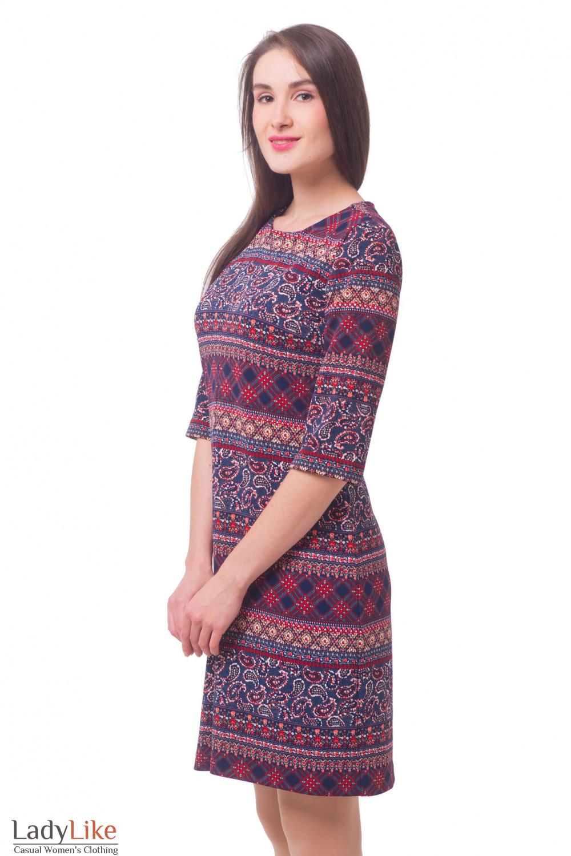 Купить платье в красный узор со складкой Деловая женская одежда
