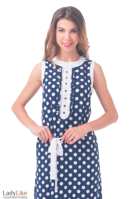 Купить платье в пол синее в горошек Деловая женская одежда