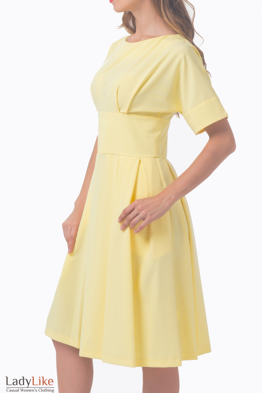 Купить платье желтое с отрезной талией Деловая женская одежда