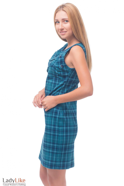 Купить сарафан в зеленую клетку Деловая женская одежда