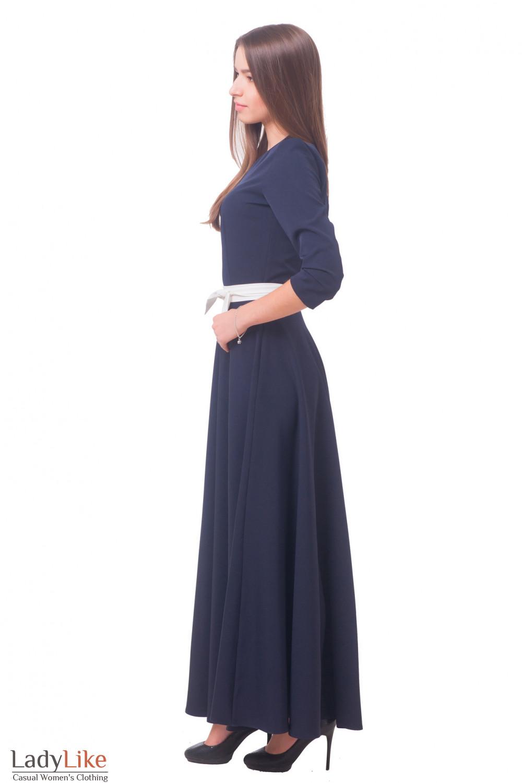 Купить синее длинное платье Деловая женская одежда