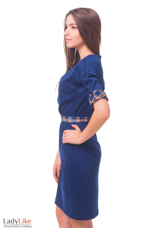 Купить трикотажное синее платье с поясом в клетку Деловая женская одежда