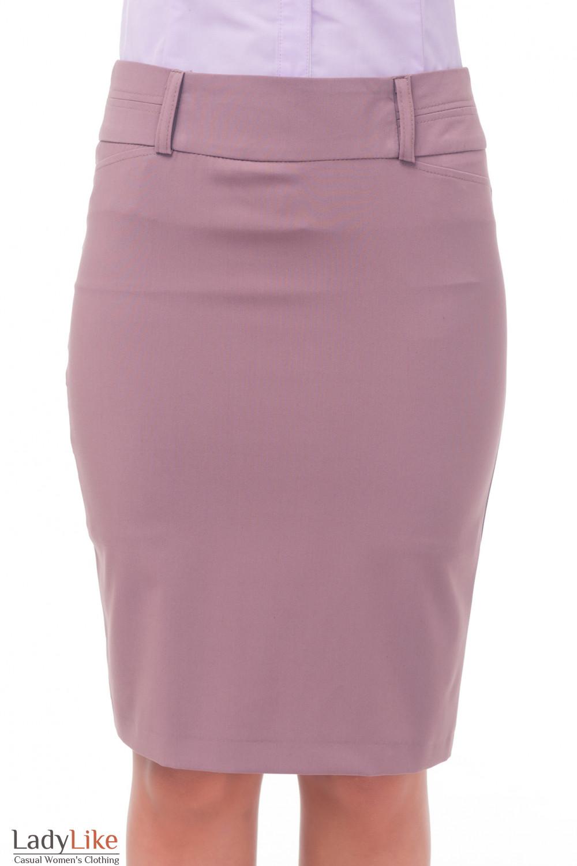 Сиреневая юбка со строчкой на поясе Деловая женская одежда