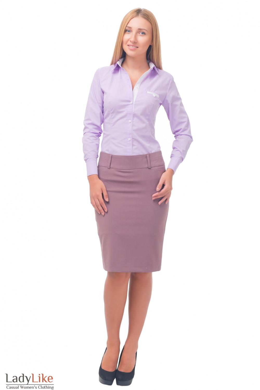 Купить сиреневую юбку с блузкой Деловая женская одежда