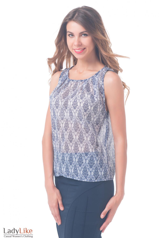 Купить топ белый с синим орнаментом Деловая женская одежда