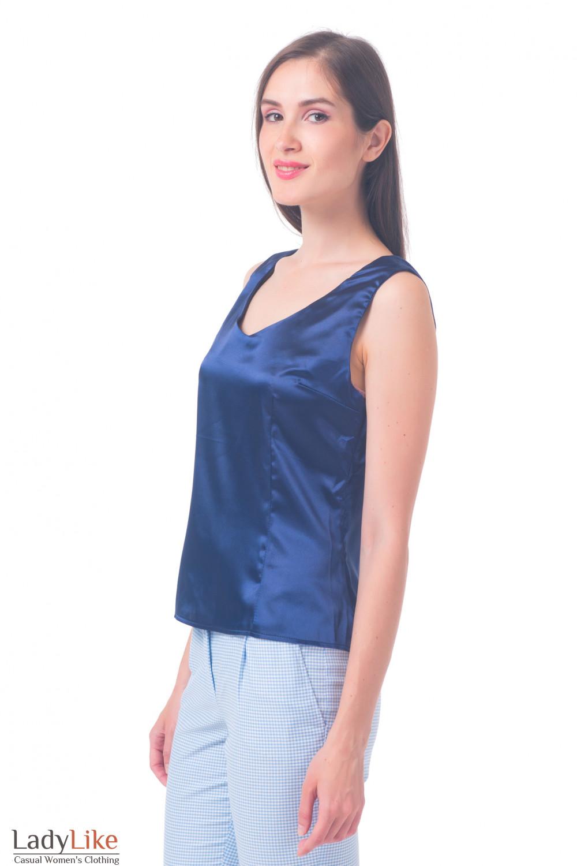 Купить синий атласный топ Деловая женская одежда