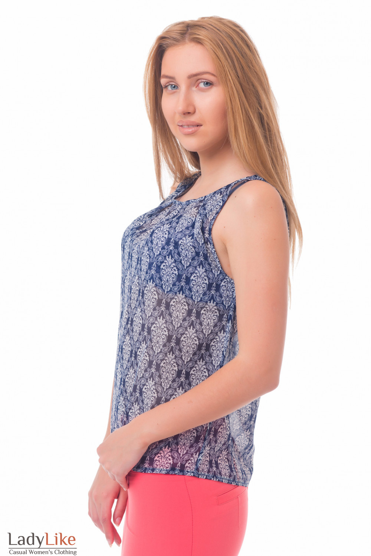 Купить топ синий в белый орнамент Деловая женская одежда