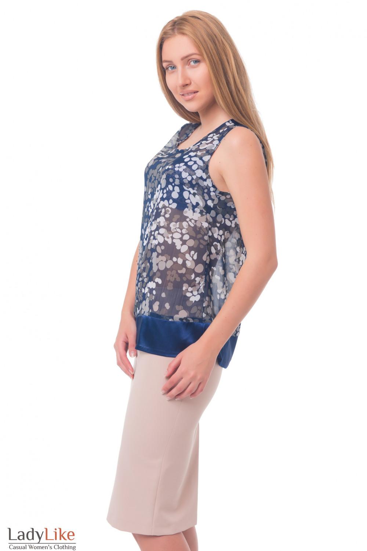 Купить топ синий в серый горох Деловая женская одежда