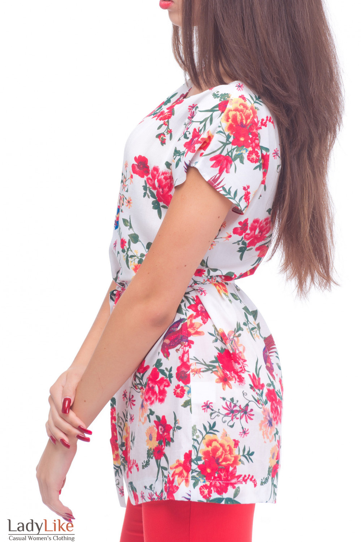 Купить тунику белую в красные цветы Деловая женская одежда