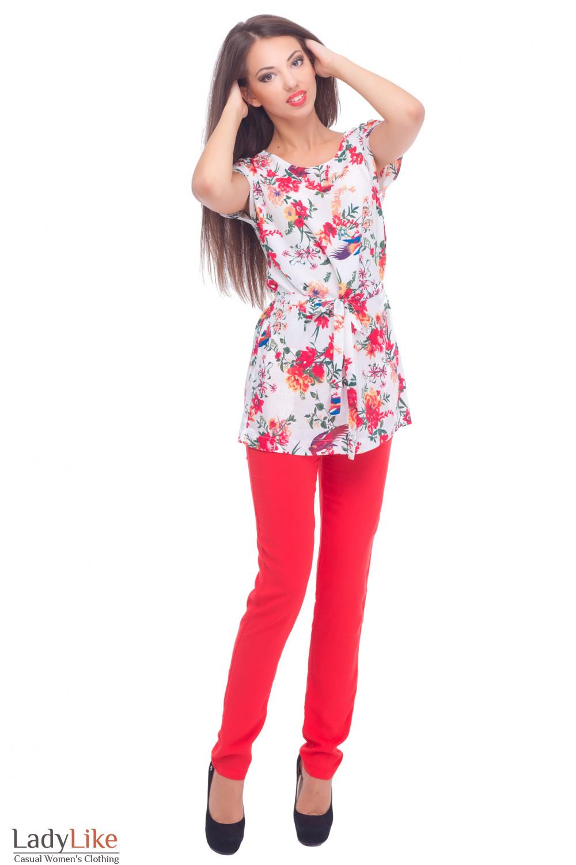 Купить летнюю тунику с поясом Деловая женская одежда