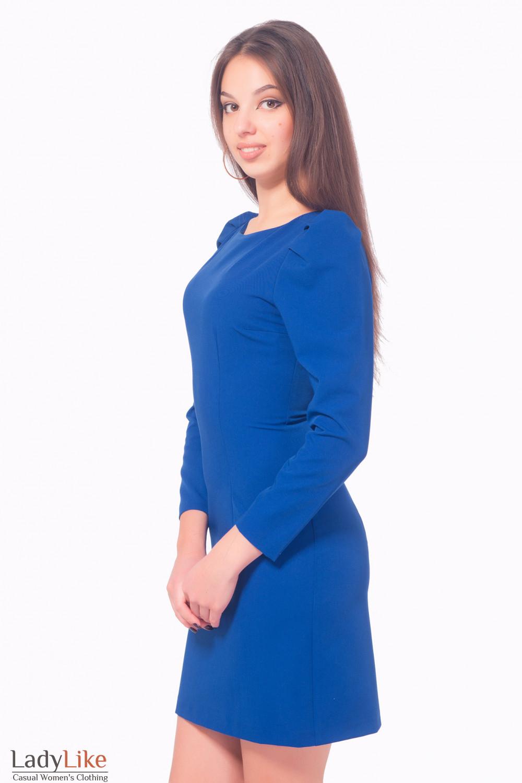 Купить ярко-синее платье с рукавом Деловая женская одежда