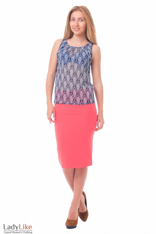 Купить юбку-карандаш коралловую с высокой талией Деловая женская одежда