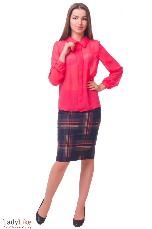 Купить теплую юбку-карандаш в коралловую полоску Деловая женская одежда