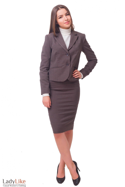 Купить теплый коричневый костюм  Деловая женская одежда