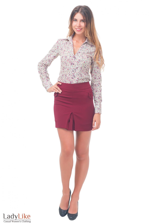 Купить юбку-трапецию бордовую Деловая женская одежда