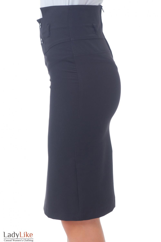 Купить черную юбку с пуговицами Деловая женская одежда