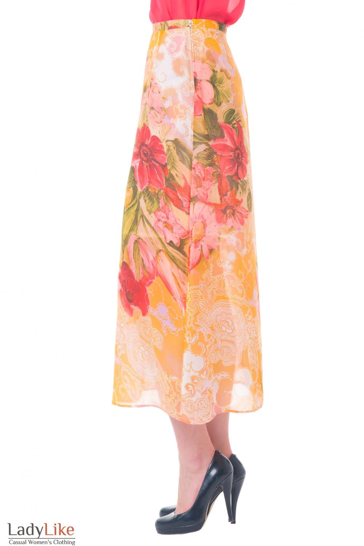 Купить юбку длинную с красными цветами Деловая женская одежда
