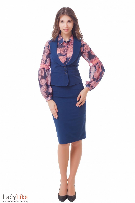Купить синюю юбку с жилеткой Деловая женская одежда