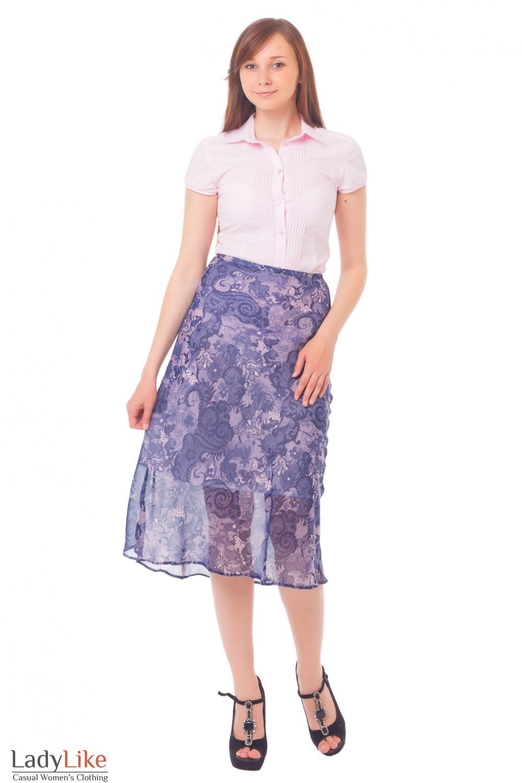 Купить юбку миди синюю в розовый узор Деловая женская одежда