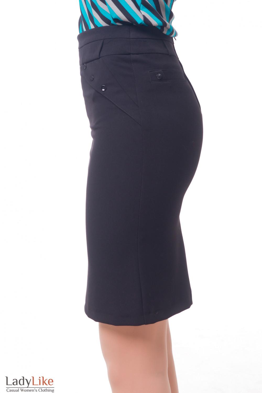 Купить юбку офисную теплую черного цвета Деловая женская одежда