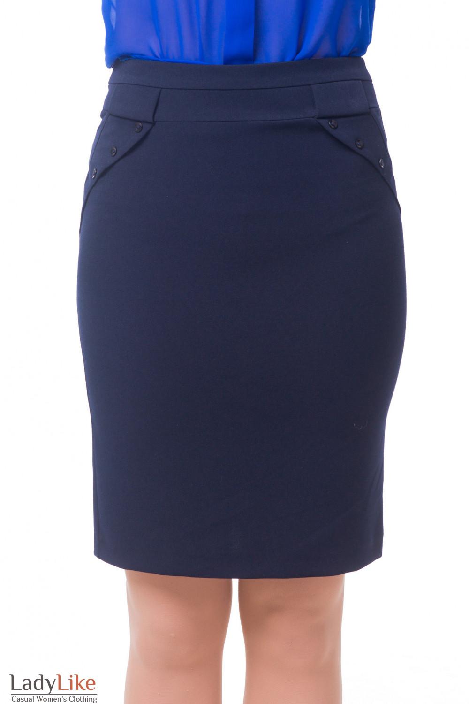 Юбка офисная теплая синего цвета Деловая женская одежда