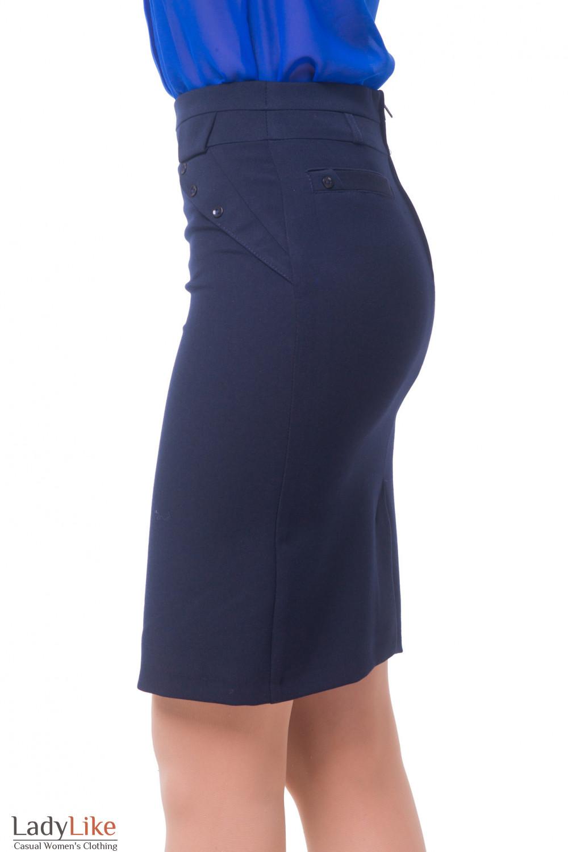 Купить Юбку офисную теплую синего цвета Деловая женская одежда