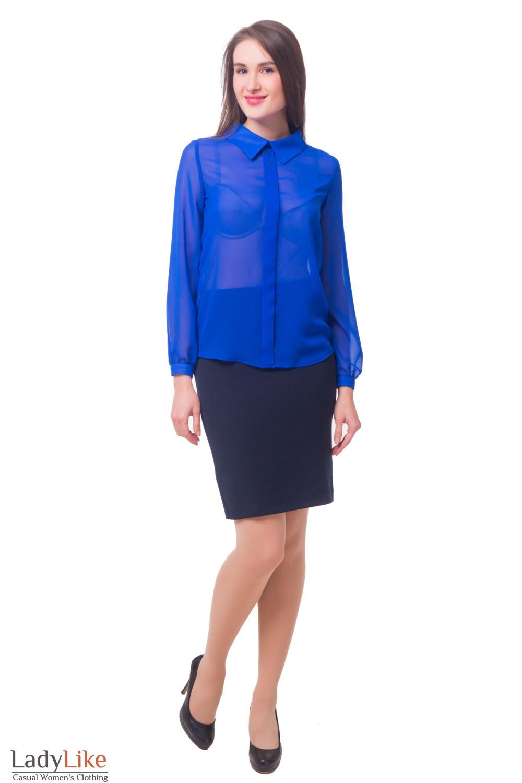 Купить Юбку офисную синего цвета Деловая женская одежда