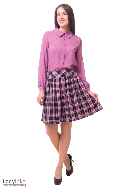 Купить черную юбку в розовую клетку Деловая женская одежда