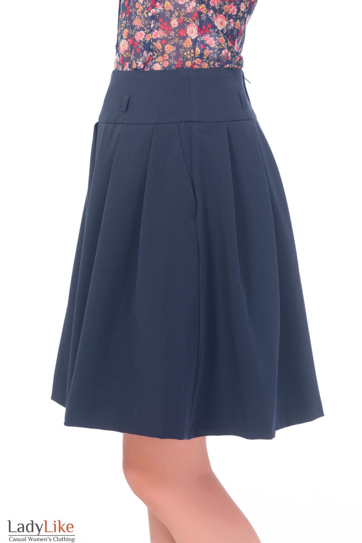 Купить юбку синюю пышную с карманами Деловая женская одежда
