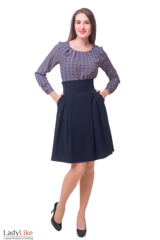 Купить юбку теплую пышную с высокой талией Деловая женская одежда