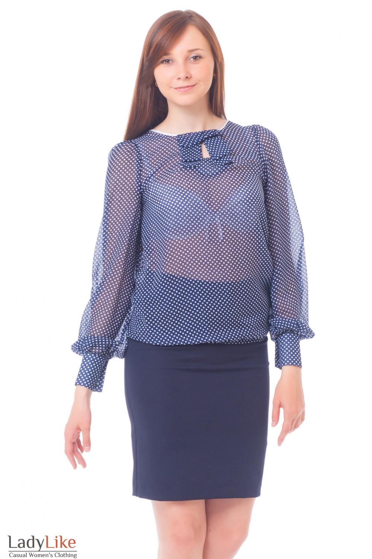 Купить юбку темно-синюю со строчкой на поясе Деловая женская одежда