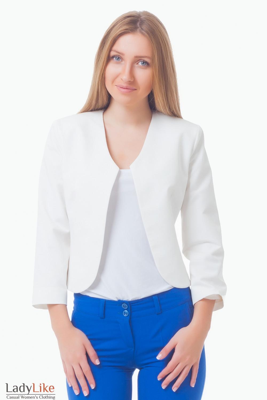 Жакет-болеро молочного цвета Деловая женская одежда
