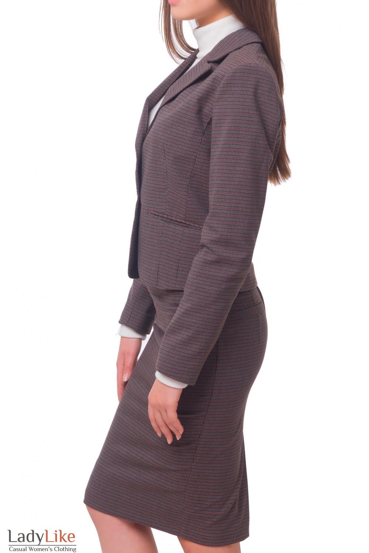 Купить жакет коричневый в полоску Деловая женская одежда