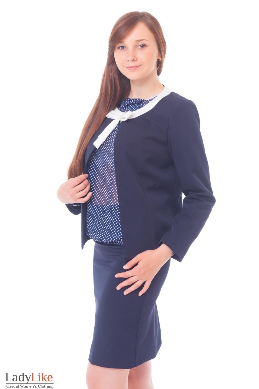 Купить Жакет синий с белым бантиком Деловая женская одежда