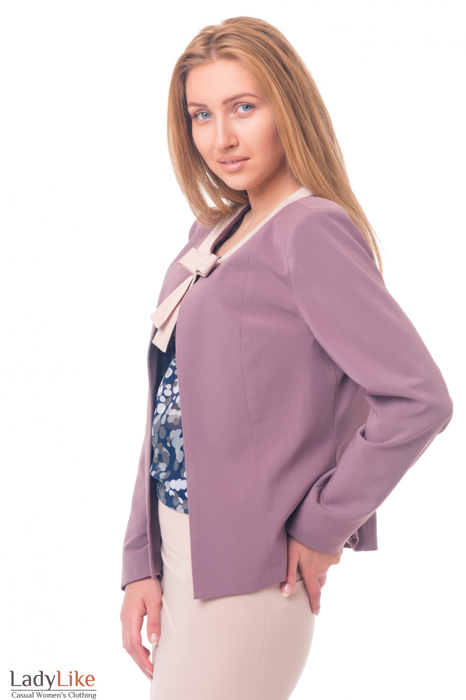 Купить жакет сиреневый с бежевым бантиком Деловая женская одежда