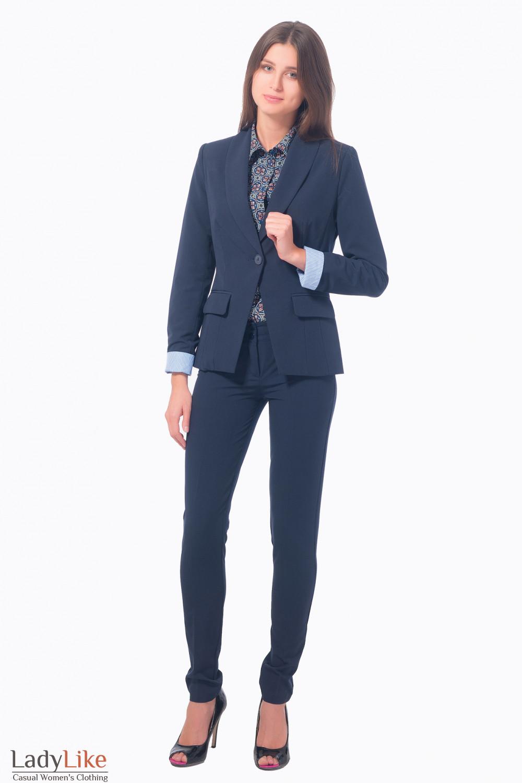 Жакет удлиненный с полосатой манжетой Деловая женская одежда