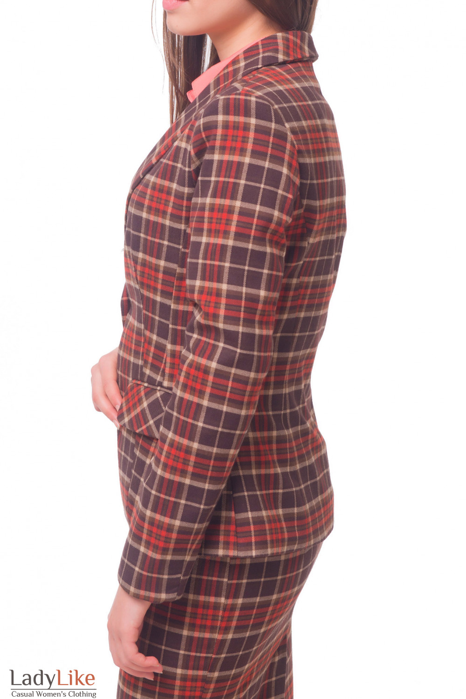 Купить жакет в красно-серую клетку на одной пуговице Деловая женская одежда
